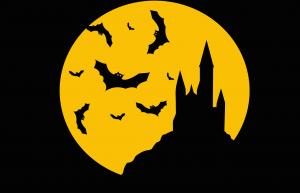 spookkasteel met vleermuizen