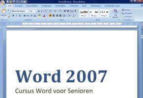 Screenshot uit Word 2007 cursus