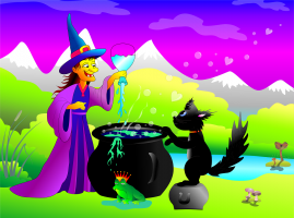 witch with magic potion