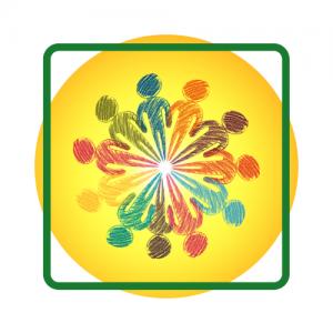 Gele cirkel met daarin cirkel van getekende mannetjes