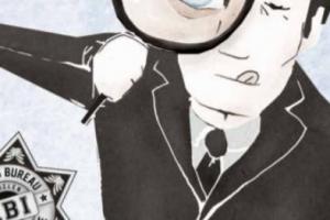 Man kijkt door vergrootglas