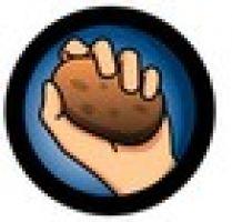 aardappel in hand geklemd