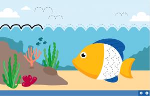Illustratie van een vis in het water