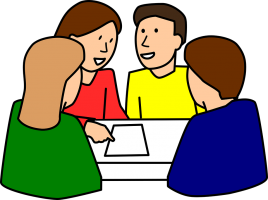 Four people around a table