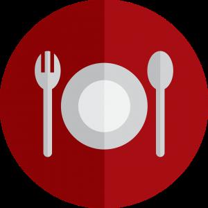 logo van een bord met mes en vork
