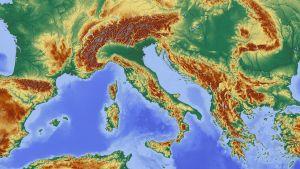 Hoogtekaart van Europa