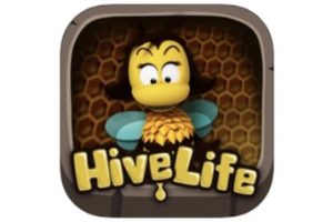 a clipart of a bee with the text HiveLife underneath