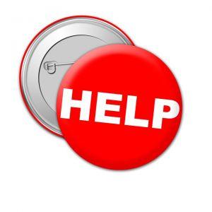 badge met HELP op