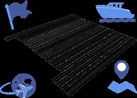 barcode met icoontjes  i.v.m. reizen errond