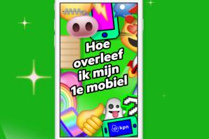 smartphone op een groene achtergrond