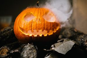 Pumpkin with smoke