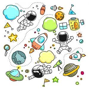 ruimtefiguren (ruimteman, raket, planeet, ....)