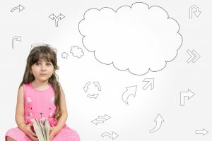 Meisje met denkwork