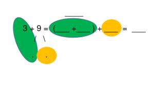 3 + 9 met tussenstappen en visuele ondersteuning met kleuren