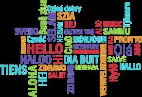 woordwolk met hallo in verschillende talen