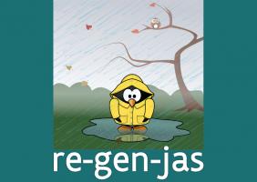 clipart van een pinguïn in een regenjas