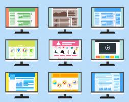 Afbeelding van verschillende computerschermen
