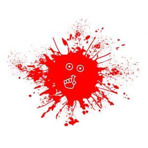 Gezicht in spatten bloed