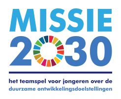 logo of the game mission 2030, team game for young people about the sustainable development goals
