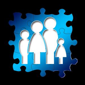puzzelstuk met een familie op