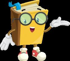 boek met bril en armen en gezicht