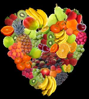 fruitaanbod in de vorm van een hart