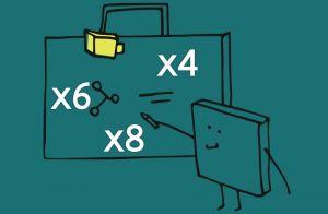 tekening schoolbord met tafels van 4, 6 en 8