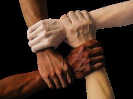 handen die elkaar vastnemen bij de pols