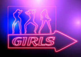 neonverlichting van dansende meisjes