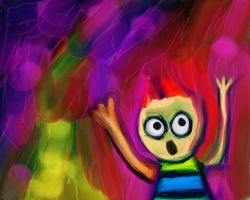 drawing of screaming child
