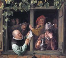 schilderij van Jan Steen waarop een aantal rederijkers afgebeeld staat