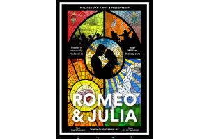 stained glass window with the title Romeo and Julia