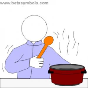 mannetje bij een kookpot