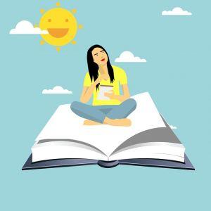 Open boek, zwevend in de lucht