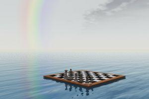 drijvend schaakbord met een regenboog op de achtergrond