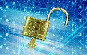Opened padlock on digital background