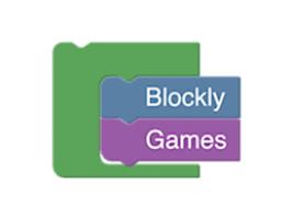 Het logo van Blockly Games.