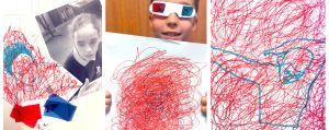 werkjes van de 3D-brillenpret workshop van Lynn Bruggeman