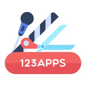 Het logo van 123 apps: Een microfoon, een filmklapper en een schaar.