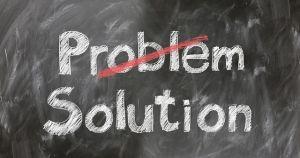 problem is doorstreept, solution is eronder geschreven in krijt