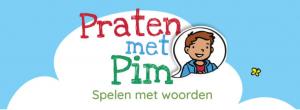 Screenshot startpagina met tekst 'Praten met Pim'