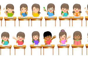 Leerlingen aan banken in klas