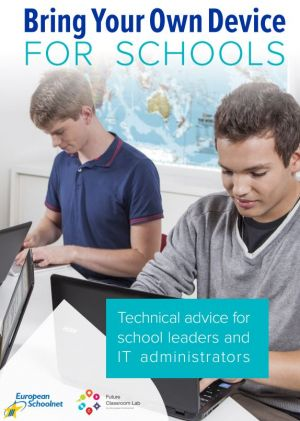 Brochure with photo of two students