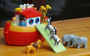 two zebras walk on Noah's ark