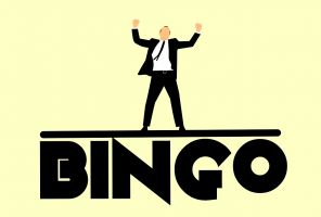 The Bingo letters. Above is a cheering man.