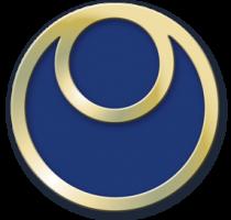 Blauwe cirkel met twee gouden ringen