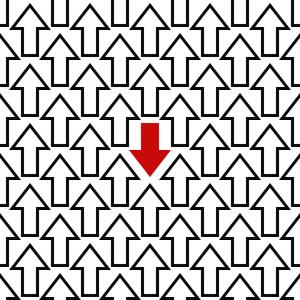Witte pijlen wijzen in dezelfde richting. 1 rode pijl wijst in de tegenovergestelde richting.