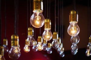 Large number of hanging light bulbs