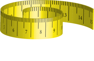 yellow, rolled-up measuring tape