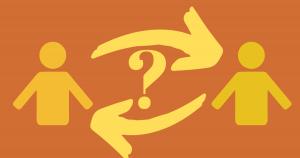 twee icoontjes stellen elkaar vragen